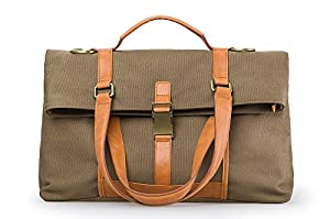 Urban Rugged Canvas and Leather 3-Way Convertible Tote / Messenger Bag, Large by Most Will