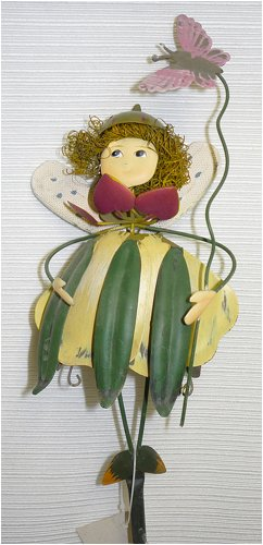 Green over Yellow Dress Metal Garden Fairy Gift Stake