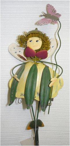 Green over Yellow Dress Metal Garden Fairy Gift Stake