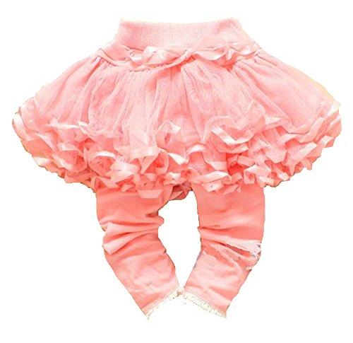 LSpace 子供服 女の子 チュール レース スカート 付き チュチュ レギンスパンツ (80, ピンク)