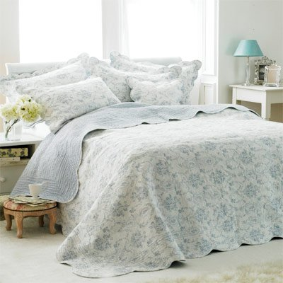Etoille Toile De Jouy Cotton Quilted Bedspread, White/Blue, Double