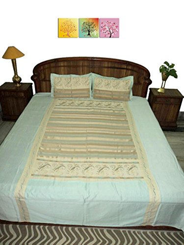Amita's Home Furnishing Sky Blue Colour Hand Embroided Bed Linen With 2 Pillow Cover