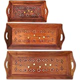 Shilpi Handmade Wooden Serving Coffee Tray, Set Of 3 With Brass Work