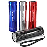 Pack of 4, BYB Super Bright 9 LED Mini Aluminum Flashlight with Lanyard, Assorted Colors, Batteries Not Included, Best Tools for Camping, Hiking, Hunting, Backpacking, Fishing and BBQ