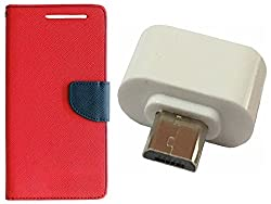 Novo Style Book Style Folio Wallet Case Xiaomi Redmi4G Red + Little Adapter Micro USB OTG to USB 2.0 Adapter for Smartphones & Tablets