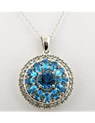 SWISS BLUE TOPAZ WHITE TOPAZ GEMSTONE PENDANT WITH CHAIN IN 925 STERLING SILVER