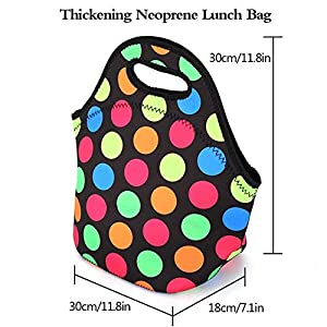 LOVAC Lunch Bag for Women,Reusable Lunch Tote,Durable and Waterproof Neoprene Lunch Bags,Insulated Soft and Lightweight (Colorful Dot) (Color: Colorful Dot)