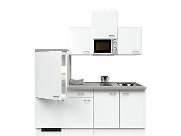 Singlekuche Weiß 210 cm mit Kochmulde und Mikrowelle - Witus