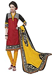 Salwar Studio Red & Yellow Cotton Dress Material With Dupatta RangResham-1802