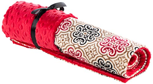 Elonka Nichole Baby Girl Original Mimi Receiving Blanket, Medallion, Red/Black
