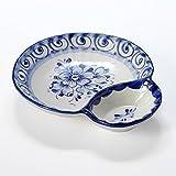 ポルトガル製 陶器 コンビボウル ソース ディップ用の 仕切り 付き 手描き ブルーフラワー柄 小鉢 pfa-558w