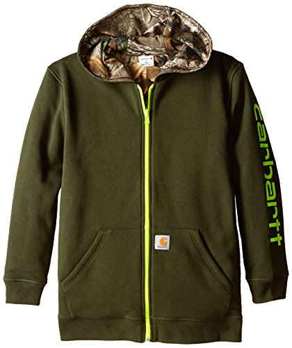 Carhartt Big Boys' Reversible Fleece Zip Sweatshirt, Olive, Large