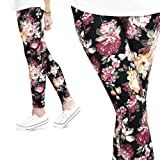 AMERICAN SKULL SNOFLAKE Womens Full Length Leggings Aztec Etnic Galaxy Paint GB Mustache Oriental Checkered Stripes Morefaz(TM) (Black flowers)
