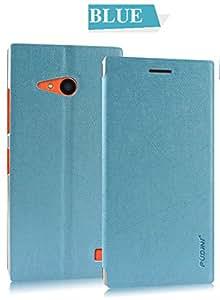 PUDINI Rain texture leather flip case forSamsung Galaxy Grand Prime (Blue)