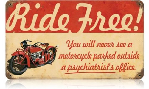 Ride Free Motorcycle Distressed Retro Vintage Tin Sign