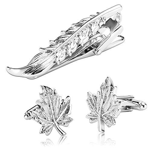 gnzoe-acciaio-inossidabile-moda-argento-foglia-forma-classic-uomo-cravatta-tie-clip-gemelli-parure