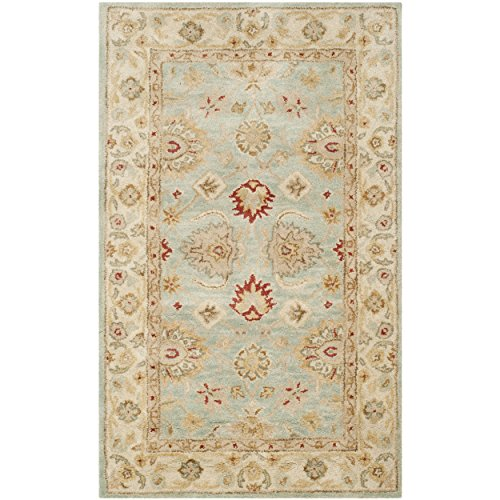 Safavieh Antiquity Collection AT822A Handmade Grey Blue and Beige Wool Area Rug, 4 feet by 6 feet (4' x 6')