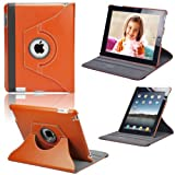 Apple iPad 2/3 Leather Case 360� Degree Rotating New Multi-Function Stand Case Cover Pouch Holster Accessories for Apple New iPad 3 HD, also Fit for iPad 2, with Magnetic Auto Sleep Wake Sensor - Orange, from eLifeStore�by eLifeStore