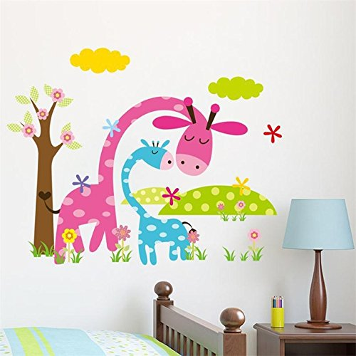 Candy color jungel wild animals Cartoon wall stickers for kids room home decoration adesivo de parede wall sticker wallpaper (Salt Life Car Decal Large compare prices)
