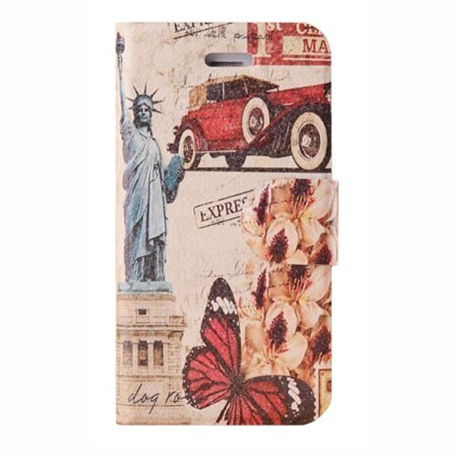 Meaci Apple Iphone 4&4S Folio Case Fashion Pattern With Kickstand Credit Card Holder Id Holder Pu Leather Material Cover Magnetic Buckle (X)