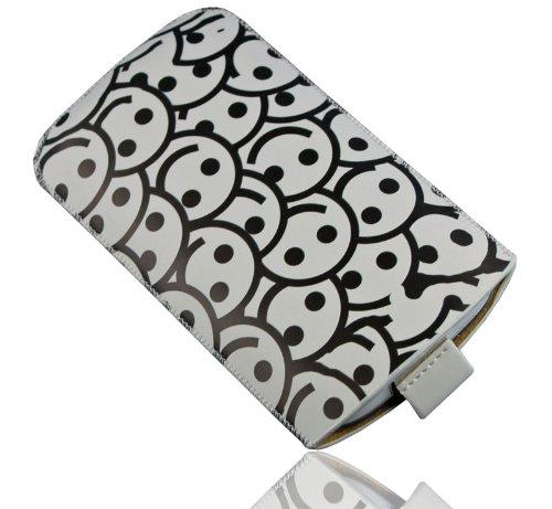 HandyFrog Design Einschubtasche Handytasche weiß schwarz Smilies - f. Sony Xperia P LT22 / J ST26i / acro S LT26w / S LT26i / SL LT26ii / V / T LT30i / ZL / ion LT28h - Handy Tasche Hülle Etui Schutzhülle