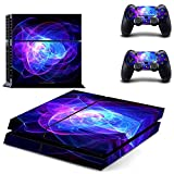 UUShop Skin Decal for PlayStation 4 Console System and PS4 Wireless Dualshock Controller - Blue Purple Lines