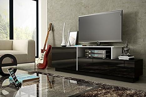 De Meuble TV lowboard Buffet commode hänged ou debout brillant mat Schwarz . Weiß . Stehend