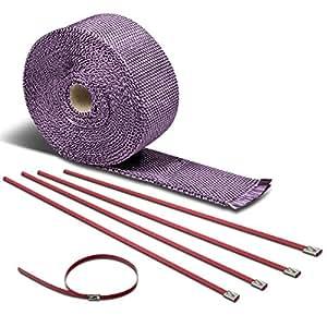 Amazon.com: 7.5-Meter Purple Exhaust Heat Wrap+Red Zip Tie for Header
