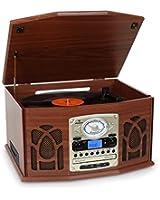 Auna NR-620 - Chaîne hifi stéréo avec platine vinyle vintage - Platine vinyle, lecteur cassette, CD et MP3 USB - Bois vintage