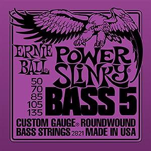 Ernie Ball 2821 5-String Power Slinky Nickel Wound Bass Set, .050 - .135