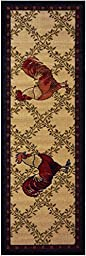 Kitchen Collection Rooster Beige Multi-Color Printed Slip Resistant Rubber Back Latex Contemporary Modern Runner Area Rug (Single Rooster 23\