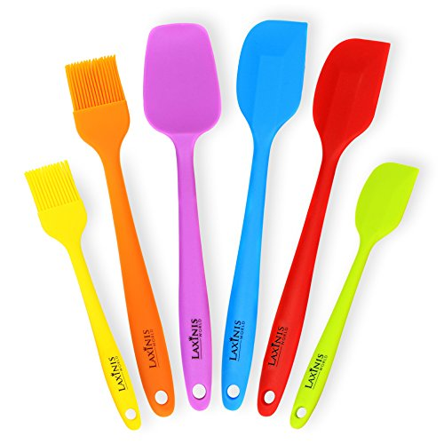 Laxinis World Silicone Spatula Utensil Set of 6 - Premium Baking Supplies Set Includes 2 Big Spatulas, 1 Small Spatula, 1 Big Spoon, 1 Big Basting Brush and 1 Small Brush (multi-color) (Silicone Big Spatula compare prices)