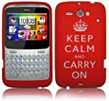 KEEP CALM AND CARRY ON RED SILICONE CASE FOR HTC CHACHA