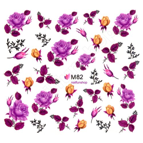 1 Bogen One Stroke Sticker BLE M82 Nailsticker Nailart Folie Nail-Tattoo