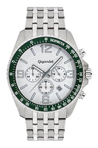 Gigandet FAST TRACK Orologio Uomo Cronografo Analogico Quarzo Argento Verde G12-002