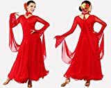 社交ダンス モダン プラチナ ライン ドレス 衣装 ヘアー アクセサリー 付き 豪華 2点セット ワンピース (b. レッドL)