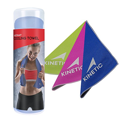 KINETIC COOLING TOWEL - Unique microfiber mesh design towel for INSTANT chilling sensation. | 40 Inches long | The fastest, most effective way to cool you down when you heat up. - BLUE