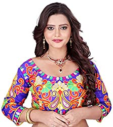Fashionx blue cotton embroidered designer stitched blouse