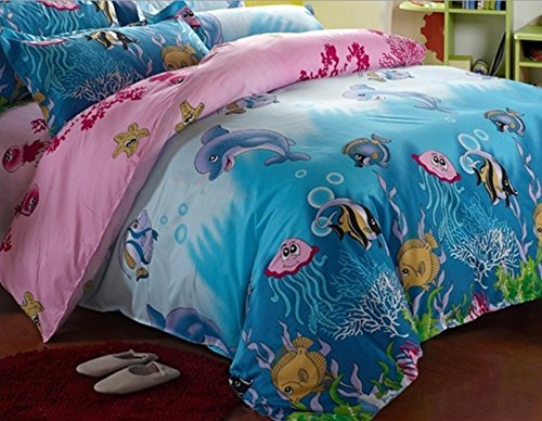 Melife® 4 Pieces Reactive Printing Sea World Bedding Set Duvet Cover Sheet Pillow case Bed-Linen promotion 6pcs bear crib bedding baby bed around set bed linen unpick and wash piece set bumpers bumper sheet pillow cover