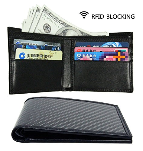 Xie's LEATHER Carbon Fiber Genuine Leather RFID Blocking Wallet For Men Slim Bifold Wallet (black) (Rfid Wallet Carbon compare prices)