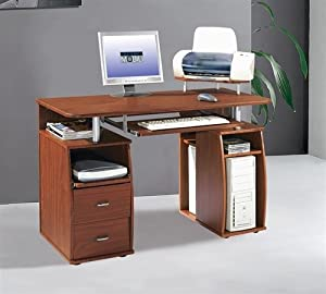 Amazon.com: Compact Mahogany Computer Desk with Storage & Printer