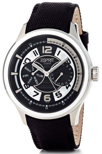Esprit  White Pulse - Reloj de cuarzo para hombre, con correa de cuero, color negro