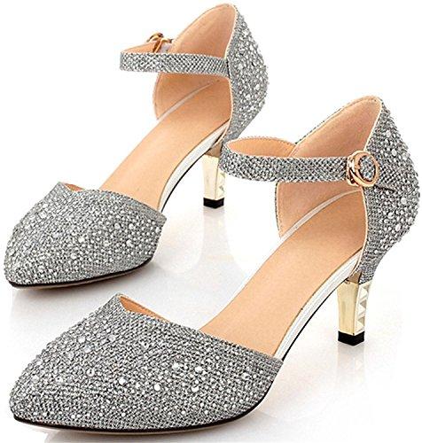 Reinhar Vintage Mid-heel Metallic D¡¯Osay Pumps Bridesmaid Shoes Evening Dress Heels Wedding Shoes Silver10.5 B(M) US (Remix Vintage Shoes compare prices)