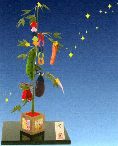 『卓上 七夕飾り』 手作りちりめん細工 なごみの和雑貨 夏の風物詩
