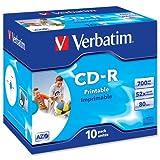 Verbatim CD-R Recordable Disk Inkjet Printable Cased 52x Speed 80min 700Mb Ref 43325 [Pack 10]