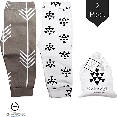 Kaydee Baby Modern Organic Infant Toddler Leggings for Boys and For Girls (Arrows) - Set of 2 Gift Set (0-3 Months)