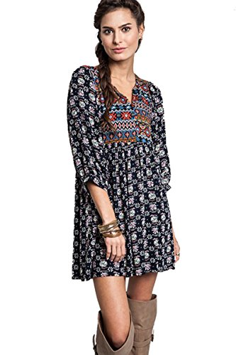 Umgee Women's Bohemian Tunic or Dress (Medium, Navy)