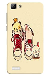 Omnam Pair Of Shoes With Cat Playingn Printed Designer Back Cover Case For Vivo V1