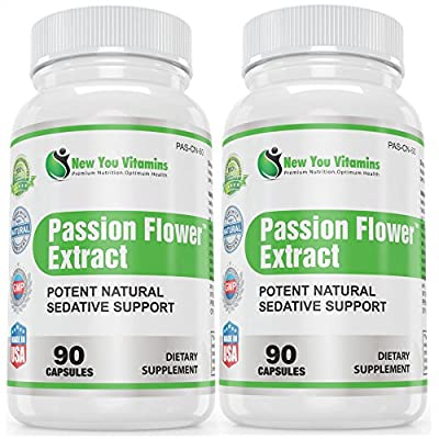 Passion Flower Supplement 180 Passion Flower Capsules BEST DEAL ANYWHERE! Potent Natural Sedative Support - Passion Flower Herb Extract 900mg 180 Capsules 2 Bottles