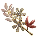 Acosta Brooches - Pastel Pink Classic Leaf with Flowers Brooch